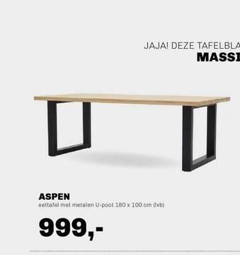 Aspen Eettafel Met Metalen U-Poot 180x100 Cm