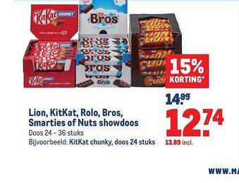 Lion, Kitkat, rolo, bros, smarties of nuts showdoos