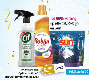 Tot 65% korting op alle Cif, Robijn en Sun