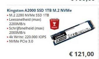Kingston A2000 SSD 1TB M.2 NVMe