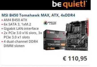 MSI B450 Tomahawk MAX, ATX, 4xDDR4