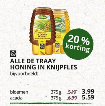 Alle de traay honing in knijpfles 375g
