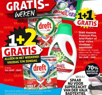 Dreft Vaatwas Platinum Plus, Ariel Pods of Ariel Ultra vloeibaar wasmiddel
