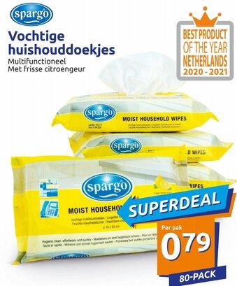 Spargo Vochtije huishouddoekjes 80-pack