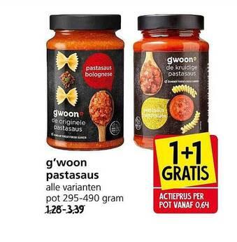 G'woon Pastasaus 1+1 Gratis