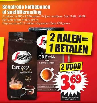 Segafredo koffiebonen of snelfiltermaling
